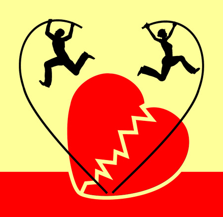 splitting up: Separation. Humorous concept sign of a couple splitting up with the symbol of a broken heart Stock Photo