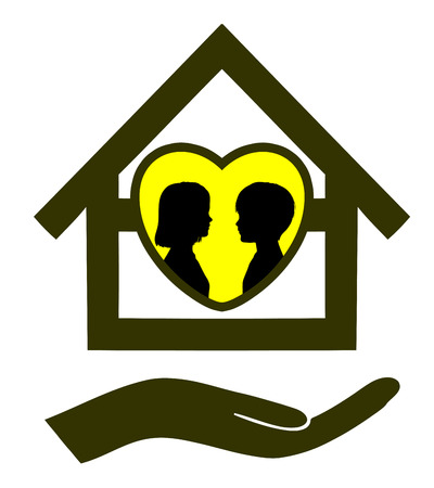 niño abrigado: Secure Home for Children. Muestra del concepto de un lugar seguro para tener hijos