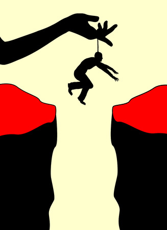 Afhankelijkheid. Concept teken van een man psychisch volkomen bepaald door een vrouw
