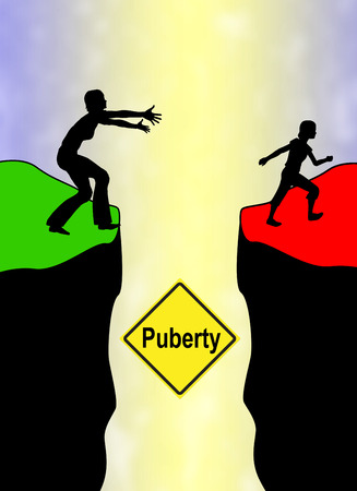 Puberty of Girl. Concept sign of a young person with the will to reach independence from parent finding her own way Stock Photo
