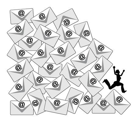 毎日の電子メールの負荷。職場、または社会的なメディアでの電子メールの洪水の負の側面をビジネスの比喩 写真素材