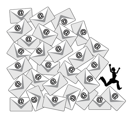 correo electronico: Diario Correo electr�nico de carga. Met�fora del asunto de los aspectos negativos de la avalancha de e-mails en el lugar de trabajo o en las redes sociales Foto de archivo