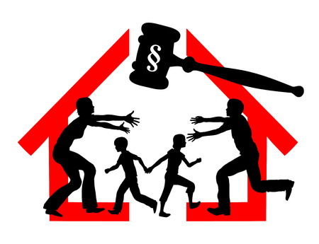 custody: Divorce and Custody. Court dealing with division of property and custody rights of kids