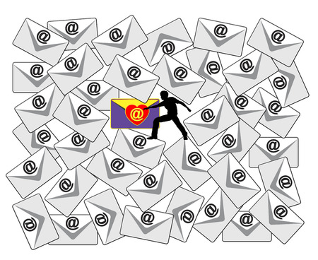 cull: Email Check. Concept sign of a person searching through a flood of emails for a special love message Stock Photo