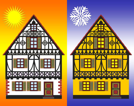 minded: Energy Efficiency Measures. Concept sign for energy efficiency improvements of homes in winter and summer