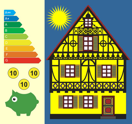 cutting costs: Save Energy and Money. Concept sign for energy conservation combined with the reduction of energy costs