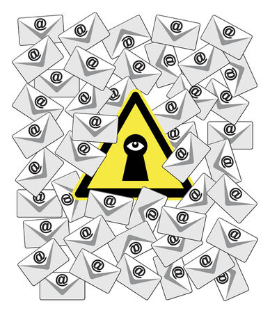 forwards: Caution Email Spy. Concept sign of monitoring software which records and forwards incoming and outgoing emails Stock Photo