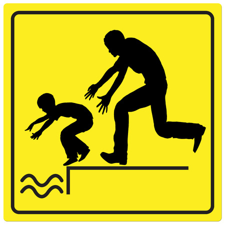 unattended: Protect your Child. Watch your child by the water, it is dangerous to leave him or her unattended