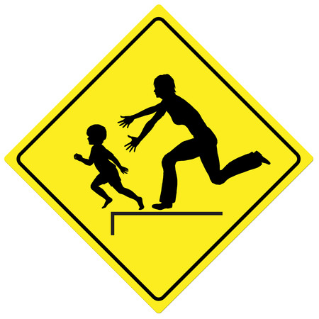 precaution: Watch the Children. Traffic sign to take care of kids playing or crossing the road Stock Photo
