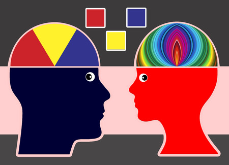 preferences: Difference in creativity. Man and woman with different preferences for fashion and colors Stock Photo