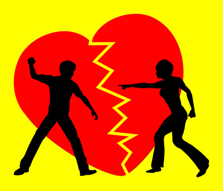 breaking off: Hate and Love. Concept sign of a couple breaking off the relation since love turned into violence and rancor Stock Photo