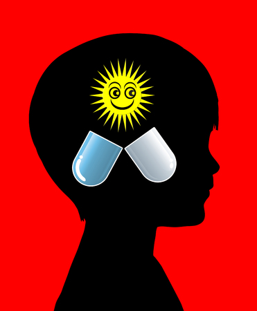 psychotropic medication: Psychoactive Medication. Concept sign for psychiatric medicines for children with positive impact on mood and behavior