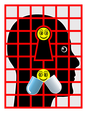 psychotropic medication: Psychiatric Patient. Concept sign of a person in the psychiatric ward treated with psychotropic drugs