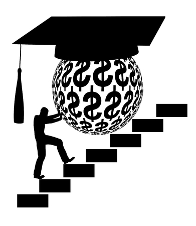 financial burden: Student Loan. Concept sign of the financial burden of higher education Stock Photo
