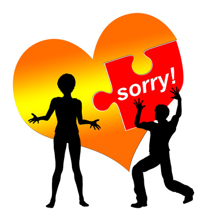I am sorry. Man is asking for forgiveness while the woman is still hesitating