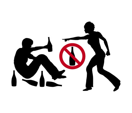 alcoholic man: Stop Drinking. Concept sign of wife telling the husband to stop with booze