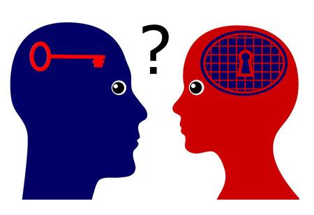 COGNICION: Conocer la psique femenina. Muestra del concepto de un hombre subiendo cuestiones psicológicas sobre el modo de pensar de las mujeres Foto de archivo