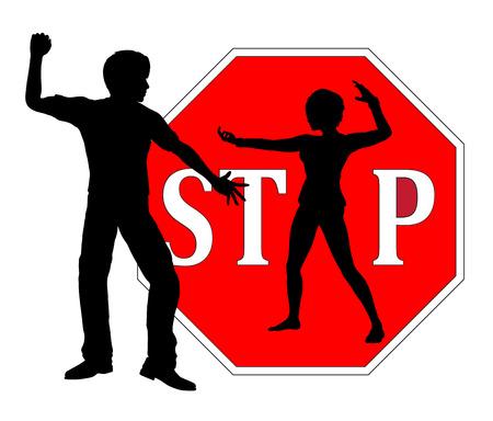 defensa personal: Defensa Personal para mujeres. Mujer que está defendiendo a sí misma como el concepto de signo para detener el acoso y la violencia contra las mujeres