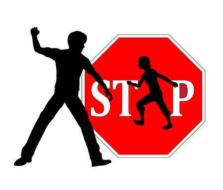 domestic violence: Stop beating Children. Concept sign against physical punishment of kids at home or at school