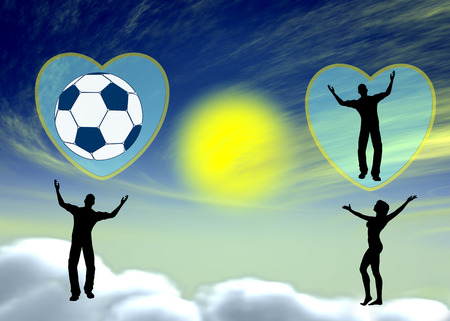 he is different: Football Lover. Satirical concept sign of couple in heaven on cloud nine with different passions, he loves football, she loves him
