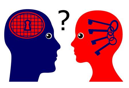 psique: Conocer la psique masculina. Muestra del concepto de una mujer subiendo preguntas psicol�gicas acerca de los secretos de los hombres Foto de archivo