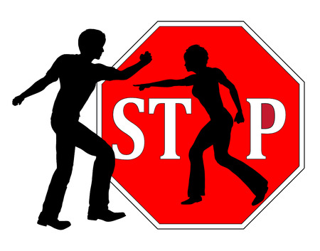 beating: Stop beating women. Concept sign for ending any kind of violence against women