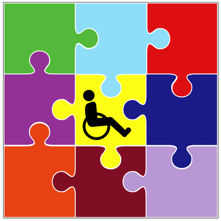inclusion: Inclusion Sign. Symbol for the successful integration of handicapped people into community living