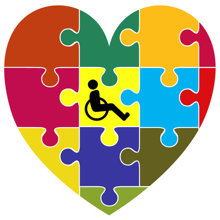 inclusion: Inclusion Concept. Symbol for the successful integration of handicapped people into community living Stock Photo