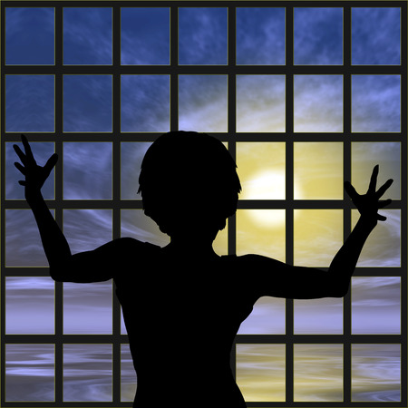 longing: Woman in Prison. Desperate female captive, slave or refugee longing for to be free