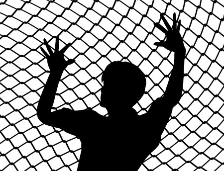 destitute: Cry for Liberty. Destitute person behind the fence as prisoner of war symbol Stock Photo