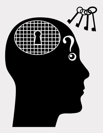 psyche: Trastorno Mental. Muestra del concepto de persona que sufre de enfermedades mentales como la amnesia o demencia