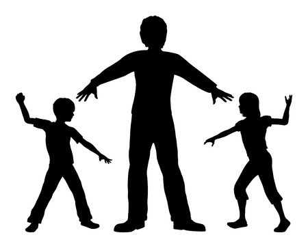 settle: Quarreling Children. Concept sign of an adult teaching children to settle conflicts peacefully Stock Photo