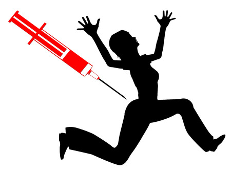 phobia: Fear of Needles. Humorous concept sign of woman with needle phobia