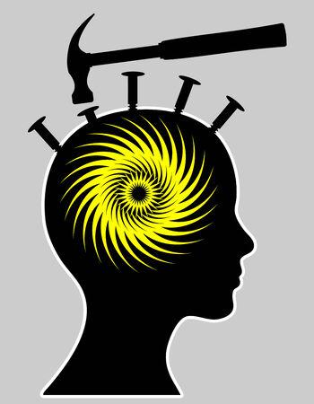 severe: Migraine. Concept sign of women suffering from severe headache Stock Photo