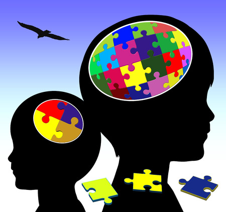 early childhood: Brain Development. Concept sign of promoting intellectual power in early childhood education Stock Photo