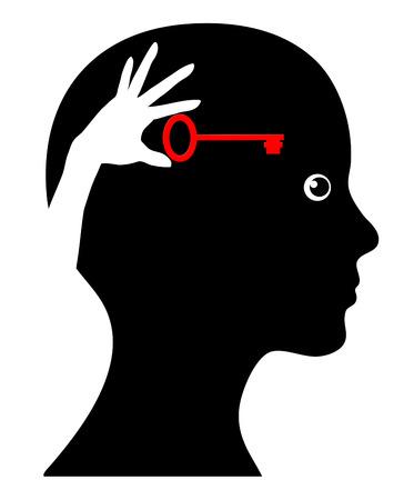 Self Help. Concept teken van de vrouw met zelfbewustzijn en doe het zelf-strategie Stockfoto