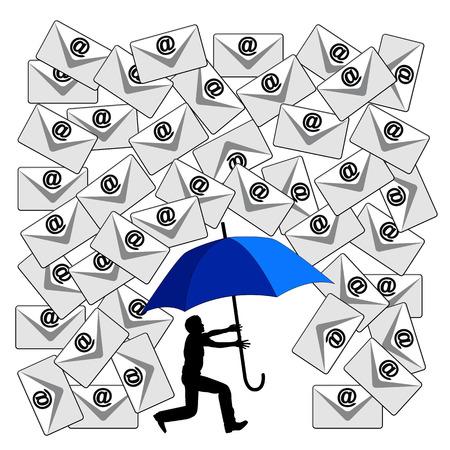 Het bestrijden van de E-mail zondvloed. Humoristische begrip teken van de dagelijkse stroom van e-mails op de werkplek of in de sociale media Stockfoto