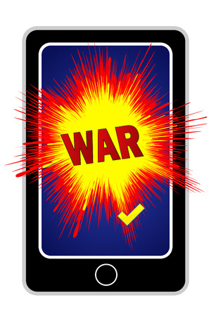 cyberwar: Cyberwar with Smartphone. Concept sign for the growing risk of cyber attacks through cellphones