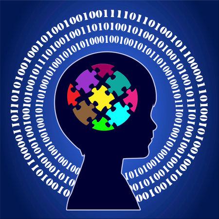 psicologia infantil: Niño ingenioso. Muestra del concepto de niño aprender el pensamiento digital en la educación infantil