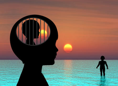 Kind met Mental Disorder. Concept illustratie van een jongen die lijden aan een psychische aandoening, zoals sociale fobie of autisme Stockfoto