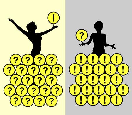 negative thinking: Optimist and Pessimist. Comparing a positive thinking person with a negative thinking one Stock Photo