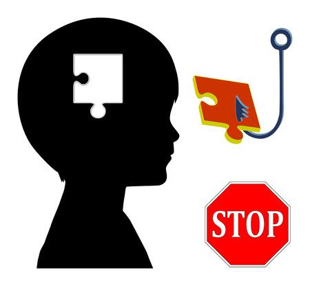 psicologia infantil: Deje de Control Mental. Muestra del concepto de alienaci�n parental o lavado de cerebro Foto de archivo