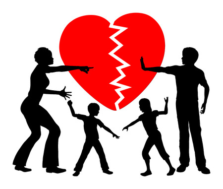 indoctrination: Parental Alienation. Concept sign of children getting emotional abused by divorced parents Stock Photo