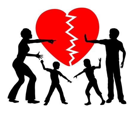 Parental Alienation. Concept teken van kinderen krijgen emotioneel misbruikt door gescheiden ouders