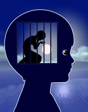 desorden: Niño Solitario. Signo concepto de la angustia y la depresión en los niños