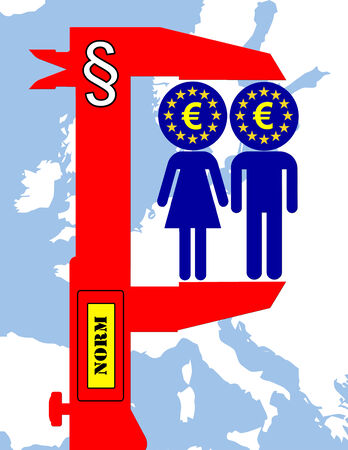 egalitarianism: We are Europe. Satirical concept sign of how European standards are leveling down everybody provoking criticism and controversy