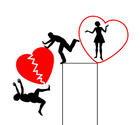 divorcing: Divorce with Broken Heart. Husband divorcing in exchange for young and attractive woman Stock Photo