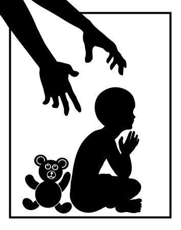 psicologia infantil: Protección de la Infancia. Muestra del concepto de niño que está siendo amenazada por persona adulta como abusador de menores o violencia doméstica Foto de archivo