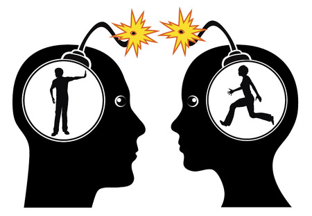 Couple Fighting. Concept sign of two partners with communication problems in heavy and aggressive dispute Stock Photo
