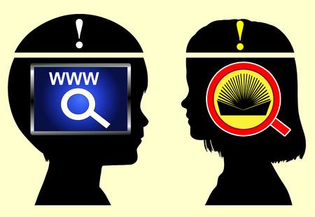 psicologia infantil: Internet frente Libros. Boy est� recogiendo informaci�n de la red, chica de libros en la educaci�n infantil